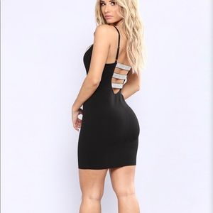 Black rhinestone back detail mini dress